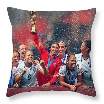 Us Women's Soccer Throw Pillow by Semih Yurdabak