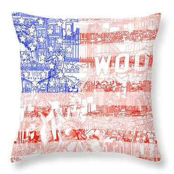 Usa Flag 1 Throw Pillow