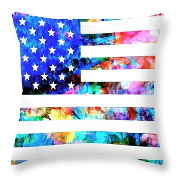 Usa Flag 6 Throw Pillow