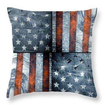 Usa Flag 7 Throw Pillow