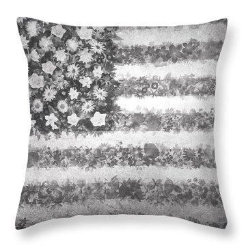 Usa Flag Floral 2 Throw Pillow