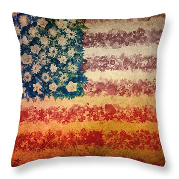 Usa Flag Floral 4 Throw Pillow