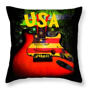 Usa Guitar Music Throw Pillow