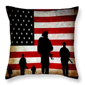 Usa Military Throw Pillow by Angelina Vick