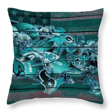 Usa Nfl Map Collage 3 Throw Pillow
