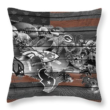 Usa Nfl Map Collage 4 Throw Pillow