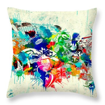 Usa Nfl Map Collage 5 Throw Pillow
