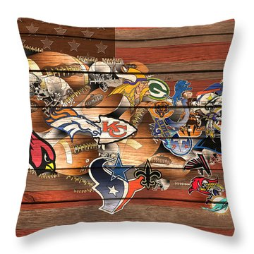 Usa Nfl Map Collage 6 Throw Pillow