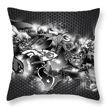 Usa Nfl Map Collage 7 Throw Pillow