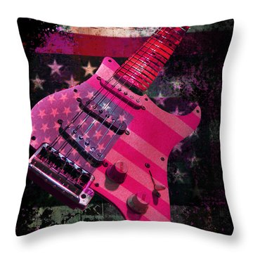 Usa Pink Strat Guitar Music Throw Pillow