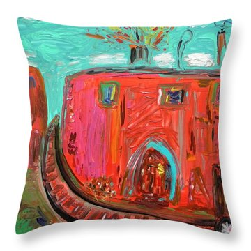 Throw Pillow featuring the painting Usa Steel Still Fascinates by Mary Carol Williams