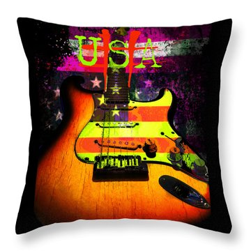 Throw Pillow featuring the photograph Usa Strat Guitar Music by Guitar Wacky