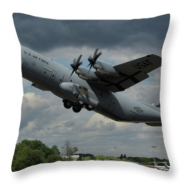 Throw Pillow featuring the photograph Usaf Lockheed-martin C-130j-30 Hercules  by Tim Beach