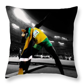 Usain Bolt 3c Throw Pillow