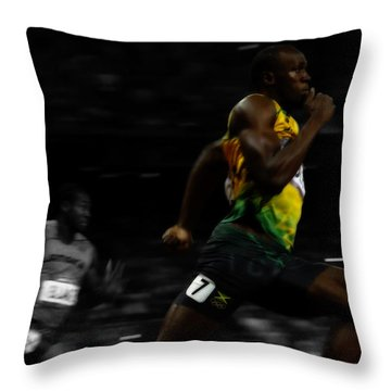 Usain Bolt Ahead Of The Pack 2c Throw Pillow
