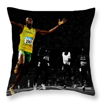 Usain Bolt Ahead Of The Pack Throw Pillow