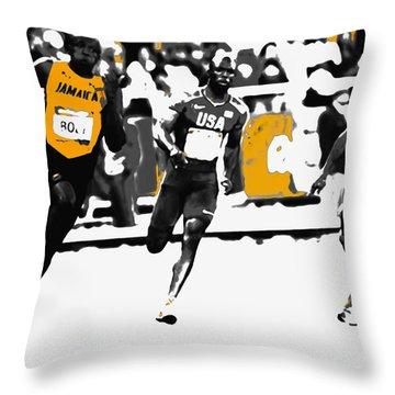 Usain Bolt Bringing It Home Throw Pillow