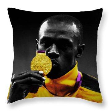 Usain Bolt Gold Medal Throw Pillow