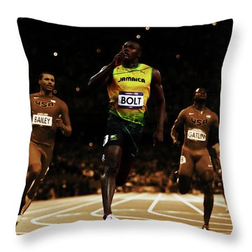 Usain Bolt Leading The Pack Throw Pillow