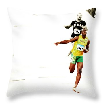 Usain Bolt Making It Look Easy Throw Pillow