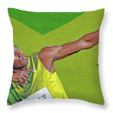 Usain Bolt Throw Pillow