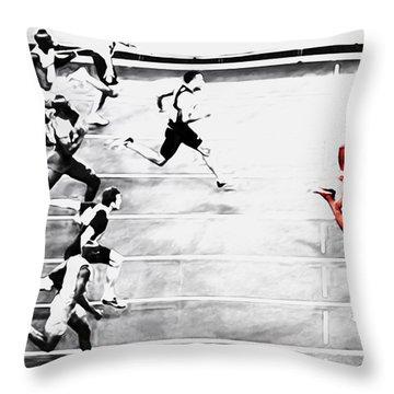 Usain Bolt Out Front Throw Pillow