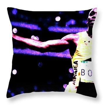 Usain Bolt Three Gold Medals Throw Pillow