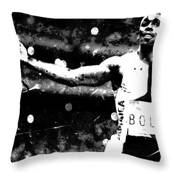 Usain Bolt Three Gold Medals S1 Throw Pillow
