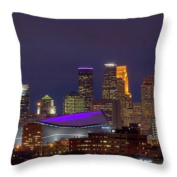 Usbank Stadium Dressed In Purple Throw Pillow