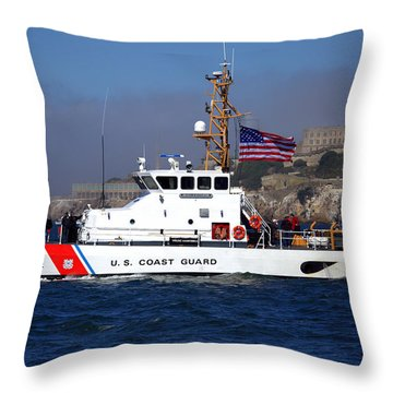 Uscg Hawksbill Patrols San Francisco Bay During Fleet Week Throw Pillow
