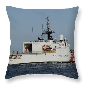 Uscgc Escanaba Heads To Sea Throw Pillow