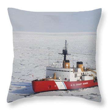 Uscgc Polar Sea Conducts A Research Throw Pillow