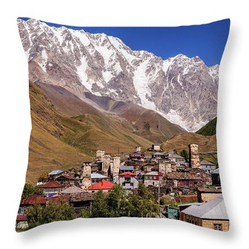 Ushguli And  Shkhara Mount Throw Pillow by Sergey Simanovsky