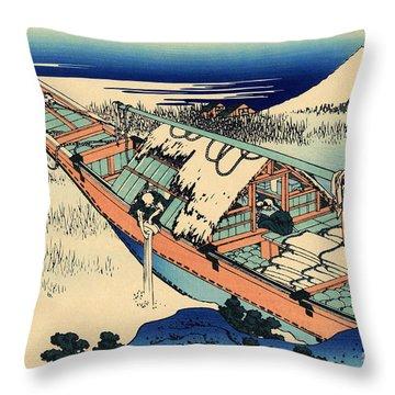 Ushibori In The Hitachi Province Throw Pillow by Hokusai