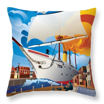 Uss Annapolis In Ego Alley Throw Pillow