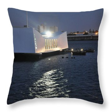 Throw Pillow featuring the photograph Uss Arizona Memorial by Gina Savage