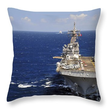 Uss Boxer Leads A Convoy Of Ships Throw Pillow by Stocktrek Images