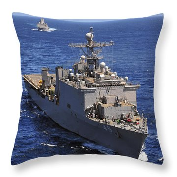 Uss Comstock Leads A Convoy Of Ships Throw Pillow