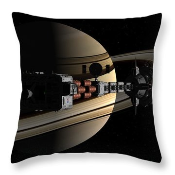 Uss Cumberland Passing Ringed Giant Throw Pillow