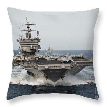 Uss Enterprise Transits The Atlantic Throw Pillow by Stocktrek Images