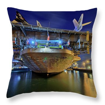Uss Midway Aircraft Carrier  Throw Pillow