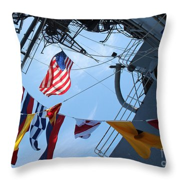 Uss Midway Flag Throw Pillow