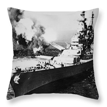Uss Missouri Firing 16-inch Salvo At Chong Jim, Korea 1950 Throw Pillow