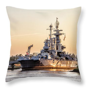 Uss North Carolina Sunset Throw Pillow