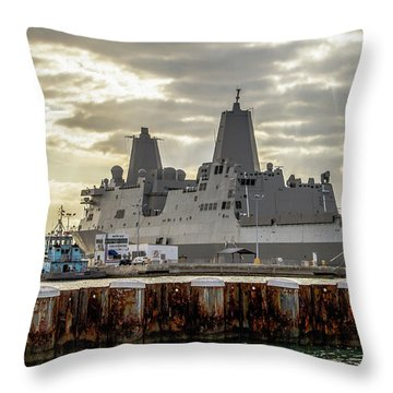 Throw Pillow featuring the photograph Uss Portland From The Port Side by Bob Slitzan