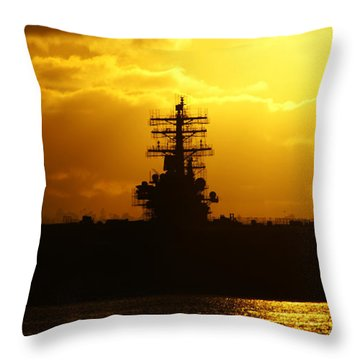 Uss Ronald Reagan Throw Pillow by Linda Shafer