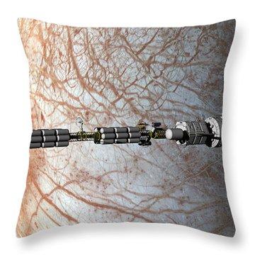 Uss Savannah Entering Orbit Around Europa Throw Pillow