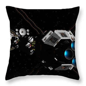 Throw Pillow featuring the digital art Uss Savannah In Deep Space by David Robinson