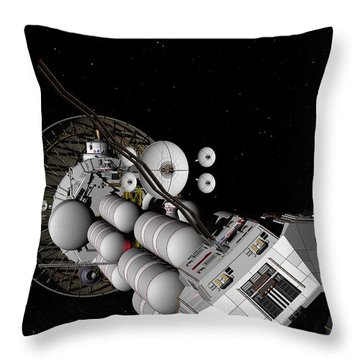 Throw Pillow featuring the digital art Uss Savannah Nearing Jupiter by David Robinson