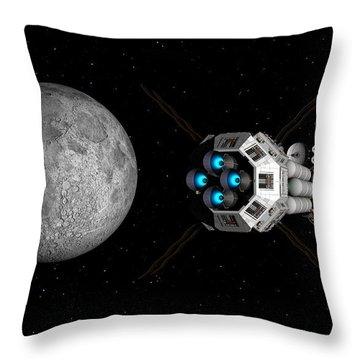 Uss Savannah Passing Earth's Moon Throw Pillow
